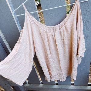 Tops - Light baby pink open shoulder blouse